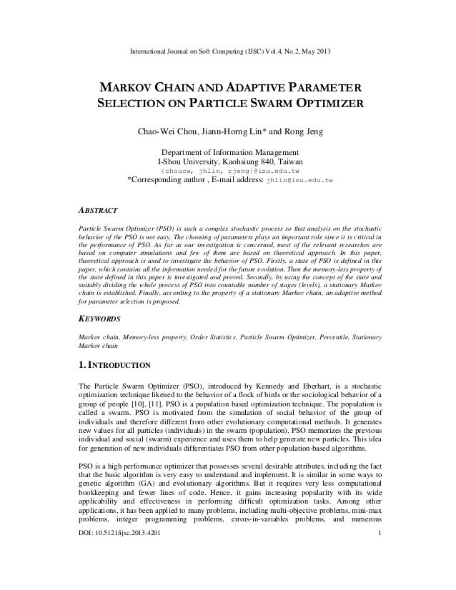 MARKOV CHAIN AND ADAPTIVE PARAMETER SELECTION ON PARTICLE SWARM OPTIMIZER