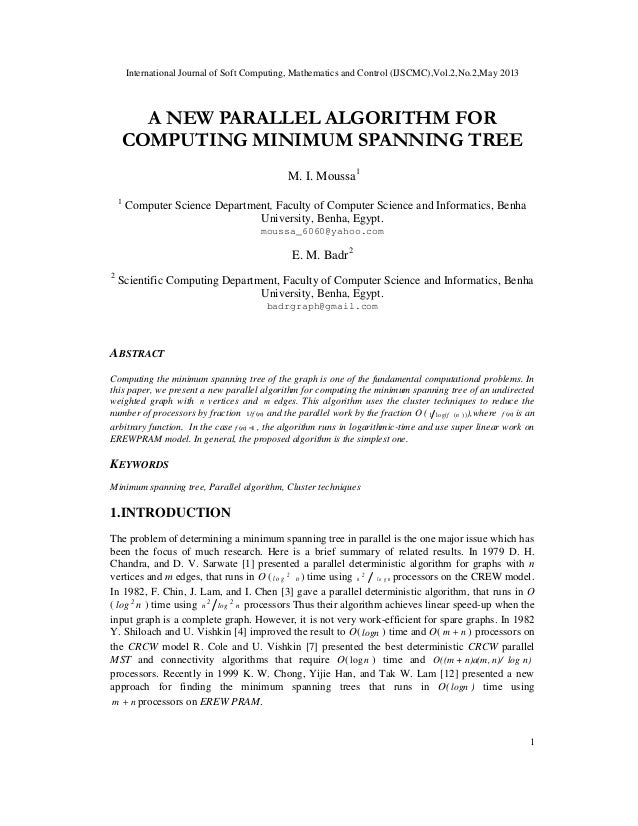 International Journal of Soft Computing, Mathematics and Control (IJSCMC),Vol.2,No.2,May 20131A NEW PARALLEL ALGORITHM FOR...