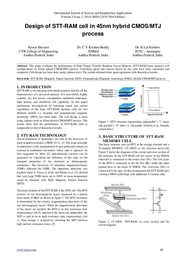 Design of STT-RAM cell in 45nm hybrid CMOS/MTJ process