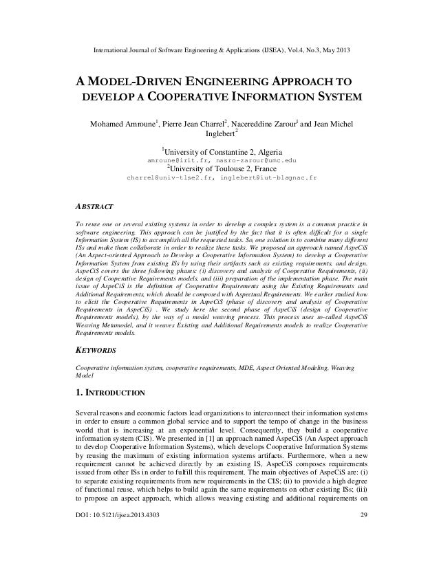 A MODEL-DRIVEN ENGINEERING APPROACH TO DEVELOP A COOPERATIVE INFORMATION SYSTEM