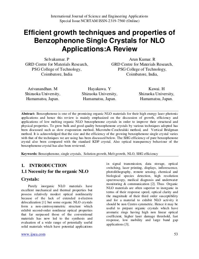 Efficient growth techniques and properties of Benzophenone Single Crystals for NLO Applications:A Review