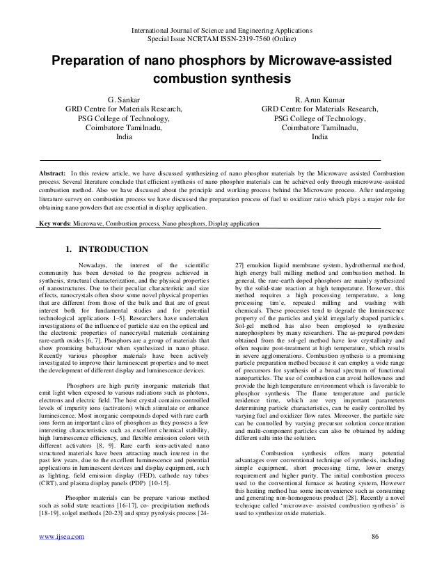 Preparation of nano phosphors by Microwave-assisted combustion synthesis