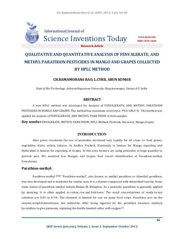 Ch. Ramamohana Rao et al., IJSIT, 2012, 1(1), 56-68  QUALITATIVE AND QUANTITATIVE ANALYSIS OF FENVALERATE, AND METHYL PARA...