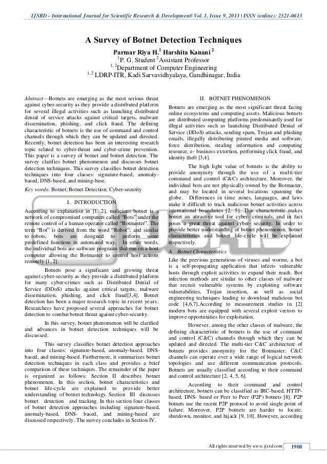 A Survey of Botnet Detection Techniques