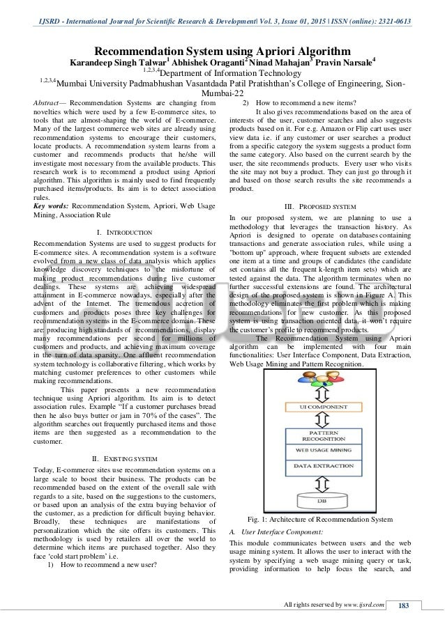 apriori algorithm research paper Index terms— data mining, apriori algorithm, k-means according to abi research consumer clustering on the results of the apriori algorithm the paper is.
