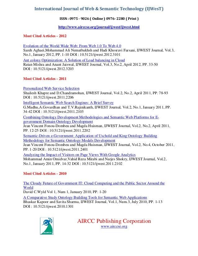 International Journal of Web & Semantic Technology (IJWesT) ISSN : 0975 - 9026 ( Online ) 0976- 2280 ( Print )  http://www...