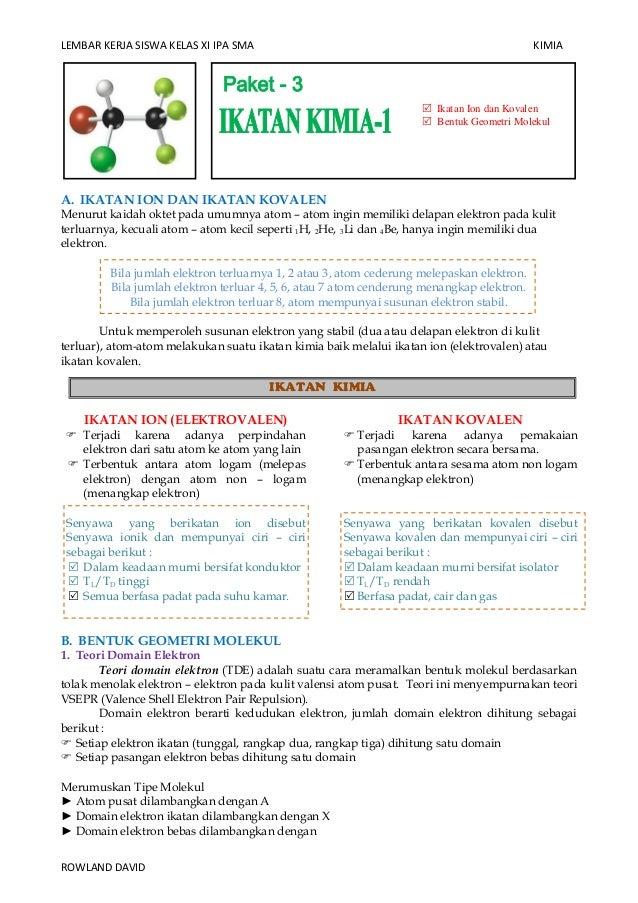 LEMBAR KERJA SISWA KELAS XI IPA SMA  KIMIA   Ikatan Ion dan Kovalen  Bentuk Geometri Molekul  A. IKATAN ION DAN IKATAN K...