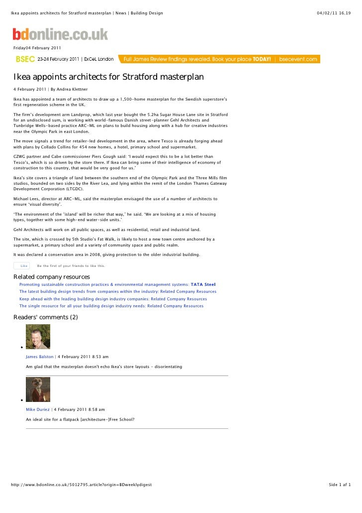 Ikea appoints architects for Stratford masterplan | News | Building Design                                     04/02/11 16...