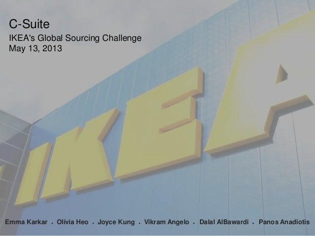 C-Suite IKEA's Global Sourcing Challenge May 13, 2013  1 Emma Karkar  ●  Olivia Heo  ●  Joyce Kung  ●  Vikram Angelo  ●  D...