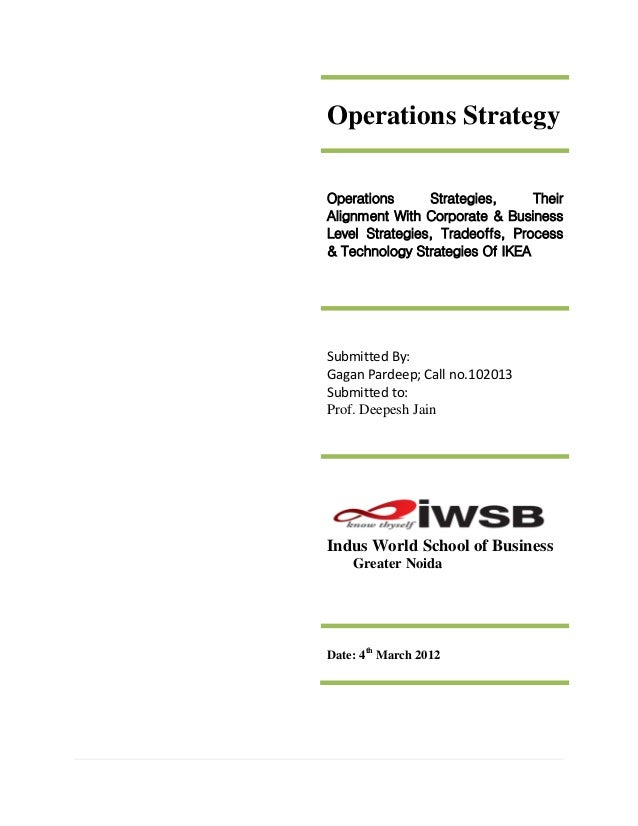 Operations StrategyOperations      Strategies,     TheirAlignment With Corporate & BusinessLevel Strategies, Tradeoffs, Pr...