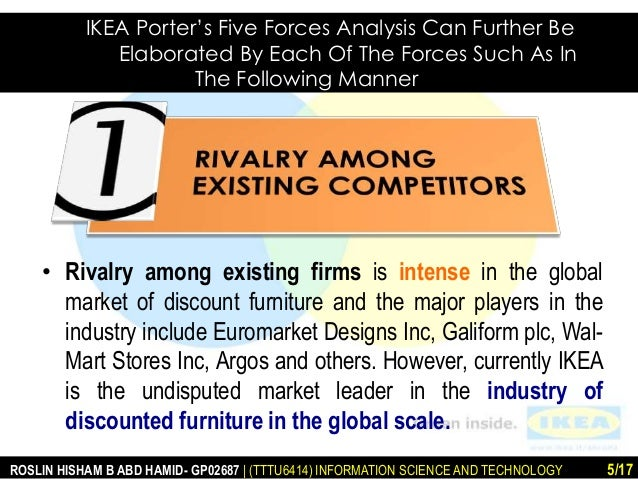 porters five forces on the furniture industry Lastly, the potential of survival of a firm in furniture industry is analyzed in   porter's five forces analysis • it is a framework to analyze level of.