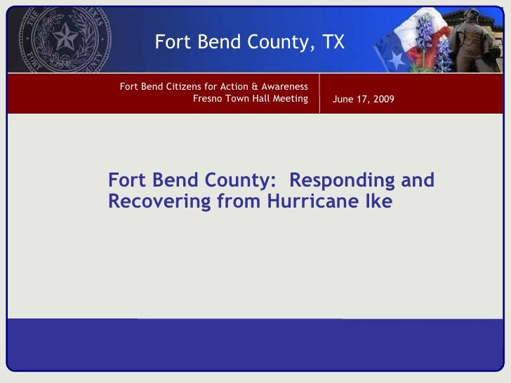 Fort Bend County:  Responding and Recovering from Hurricane Ike
