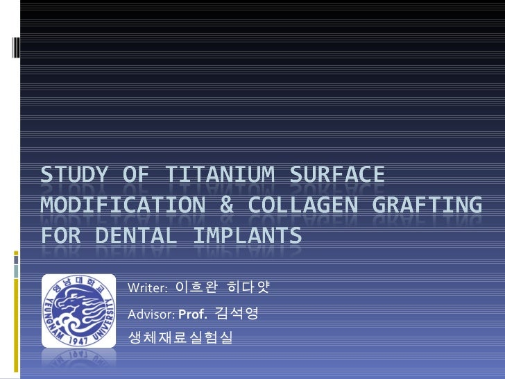 Study of Titanium Surface Modification & Collagen Grafting for dental implants