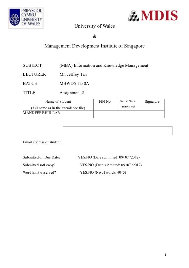 University of Wales                                           &             Management Development Institute of SingaporeS...