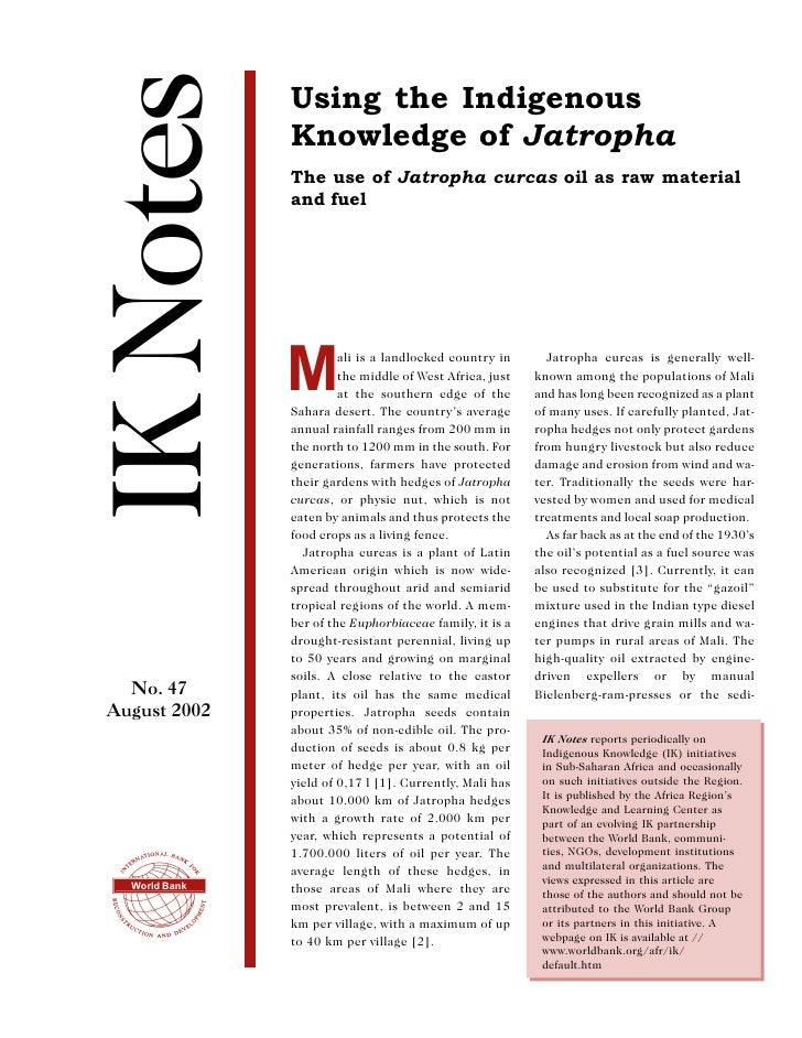 The Use of Jatropha Curcas Oil as Raw Material and Fuel - Mali, Africa