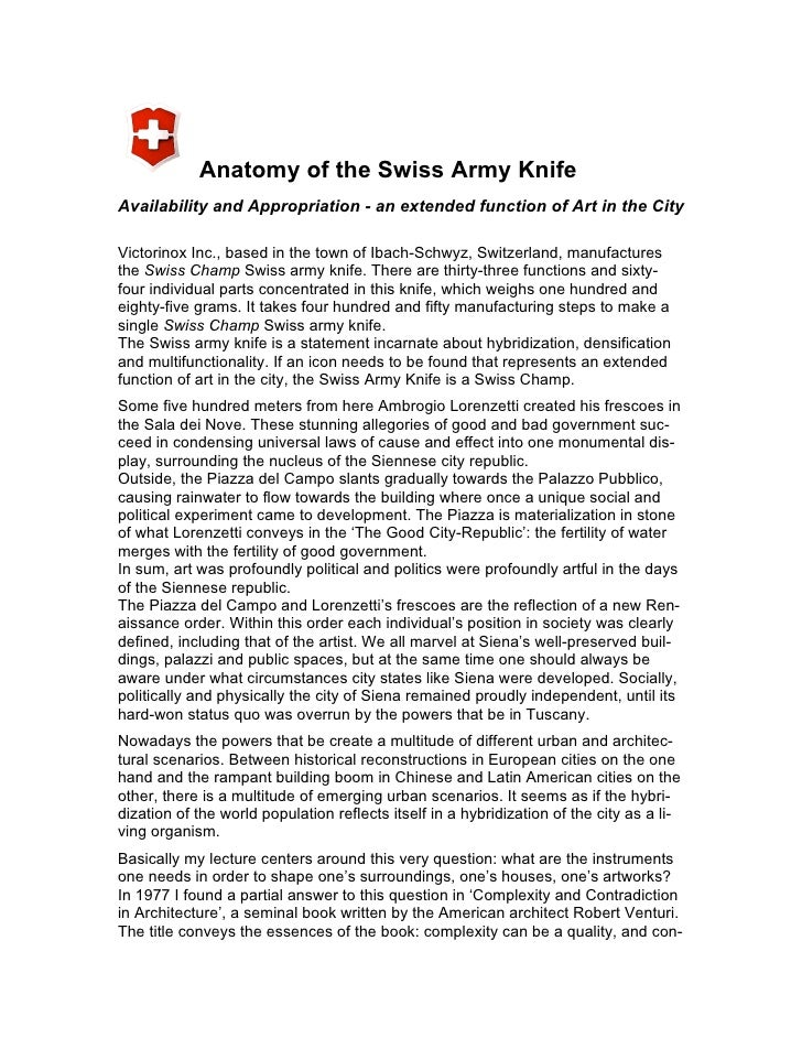 Anatomy of the Swiss Army Knife Availability and Appropriation - an extended function of Art in the City  Victorinox Inc.,...