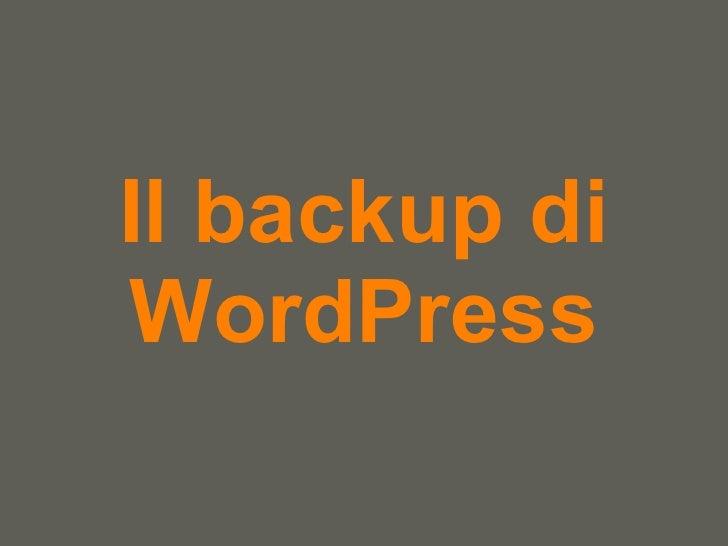 Il Backup Di Word Press