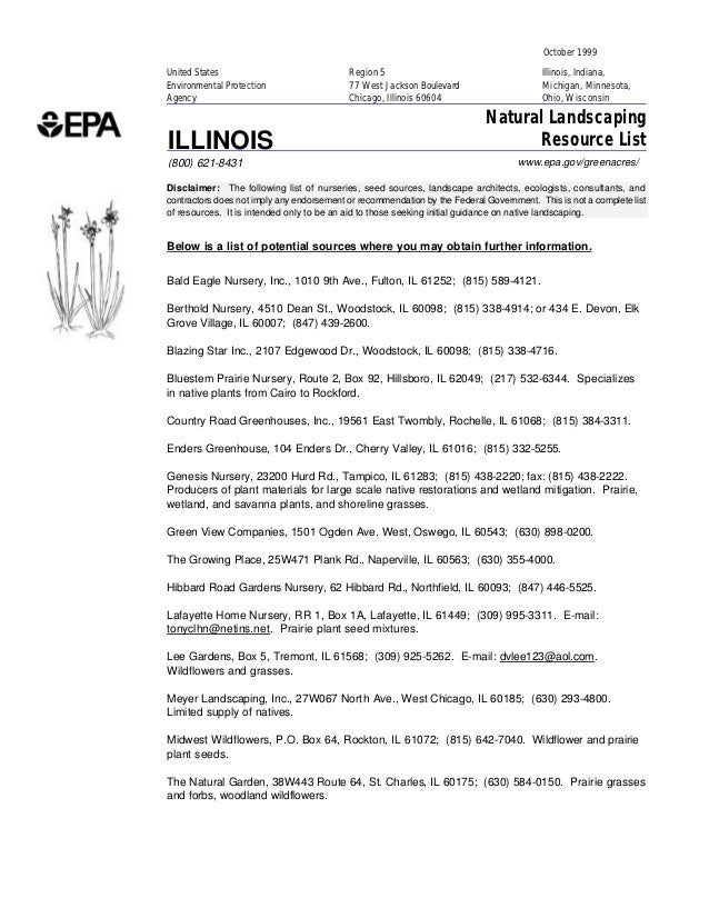 Illinois Greenacres: Natural Landscaping Resource List