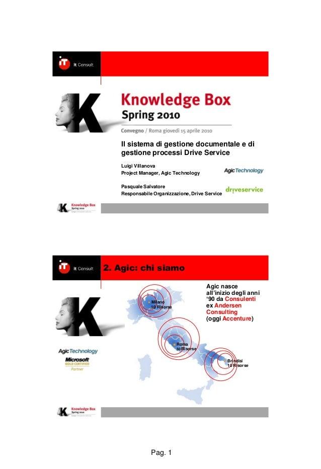 Pag. 1 Il sistema di gestione documentale e di gestione processi Drive Service Luigi Villanova Project Manager, Agic Techn...