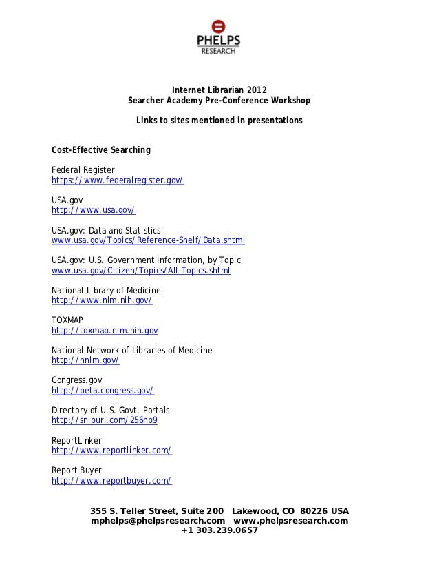 Internet Librarian 2012                    Searcher Academy Pre-Conference Workshop                      Links to sites me...