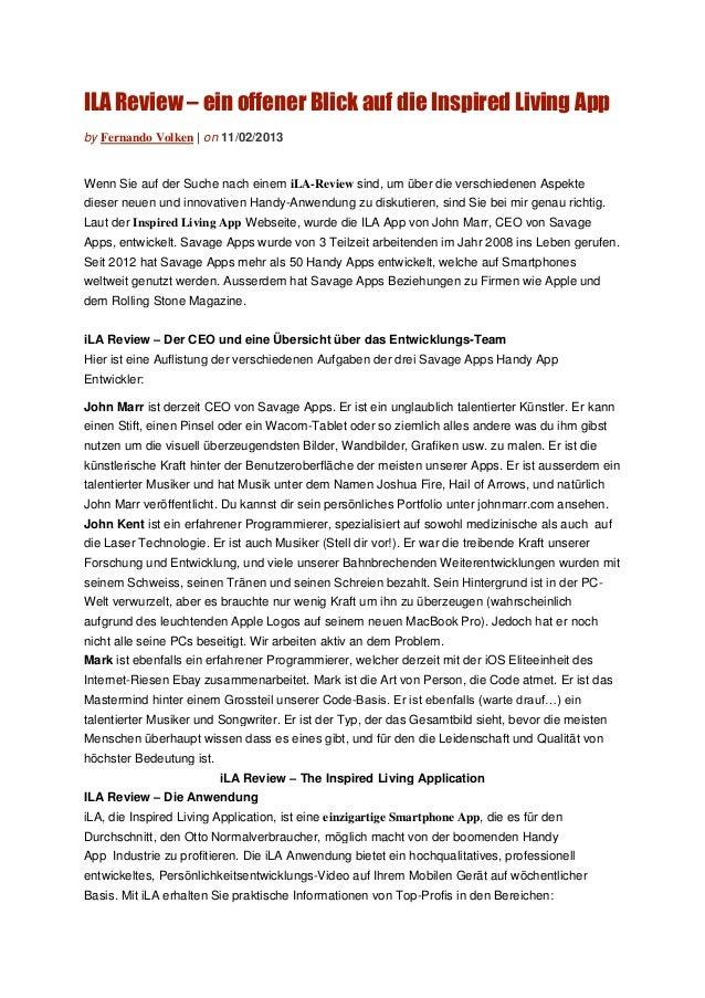 ILA Review – ein offener Blick auf die Inspired Living Appby Fernando Volken | on 11/02/2013Wenn Sie auf der Suche nach ei...