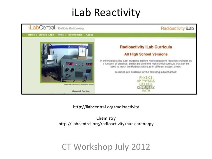 iLab Reactivity       http://ilabcentral.org/radioactivity                     Chemistryhttp://ilabcentral.org/radioactivi...