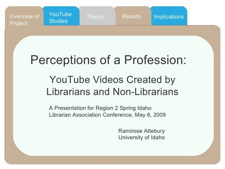 Results YouTube Studies Overview of Project Theory Implications Perceptions of a Profession: YouTube Videos Created by Lib...