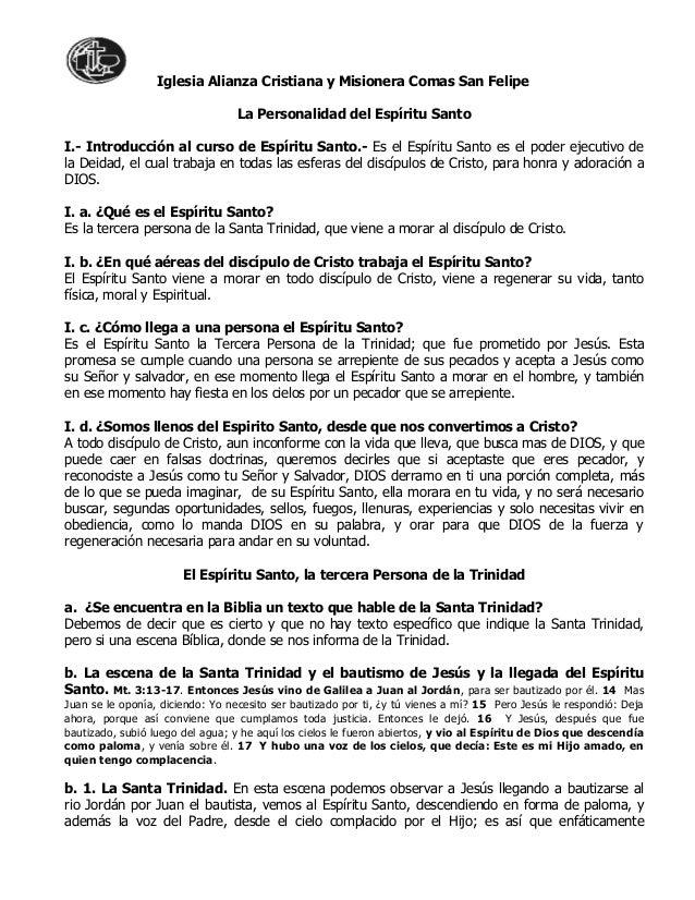 Iglesia Alianza Cristiana y Misionera Comas San FelipeLa Personalidad del Espíritu SantoI.- Introducción al curso de Espír...