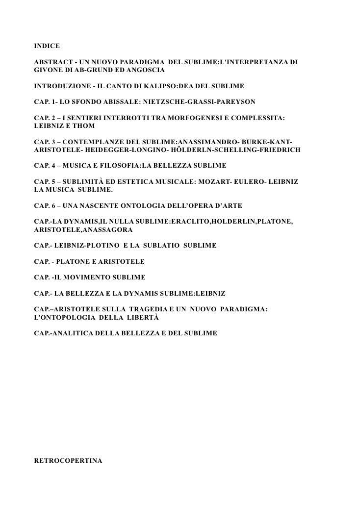 INDICE  ABSTRACT - UN NUOVO PARADIGMA DEL SUBLIME:L'INTERPRETANZA DI GIVONE DI AB-GRUND ED ANGOSCIA  INTRODUZIONE - IL CAN...