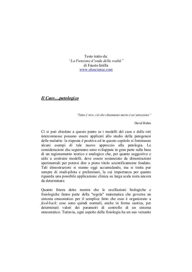 Il Caos ...patologico: Dinamica e Natura dei sistemi complessi - WWW.OLOSCIENCE.COM