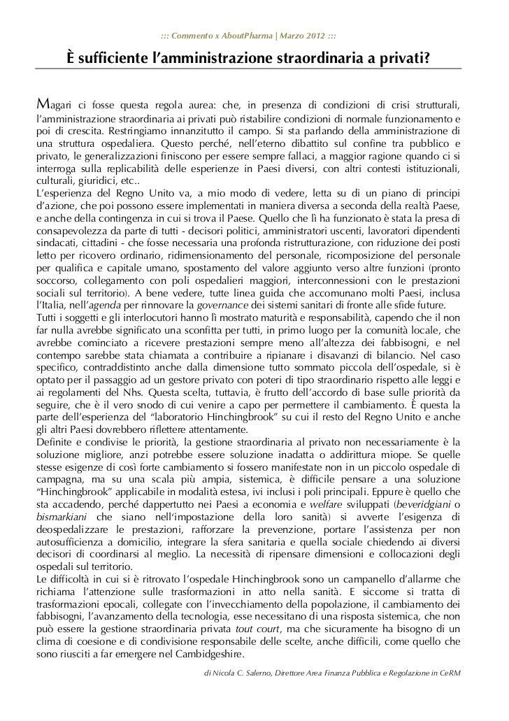 ::: Commento x AboutPharma   Marzo 2012 :::       È sufficiente l'amministrazione straordinaria a privati?Magari      ci f...
