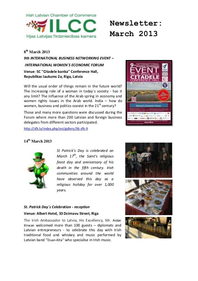 Newsletter:                                                    March 20138th March 20139th INTERNATIONAL BUSINESS NETWORKI...
