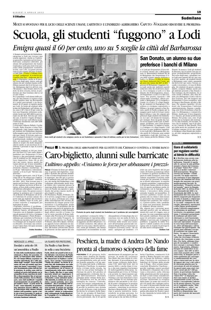 """Il cittadino 5 aprile 2012Scuola Suoerire: gli studenti """"fuggono"""" a Lodi"""