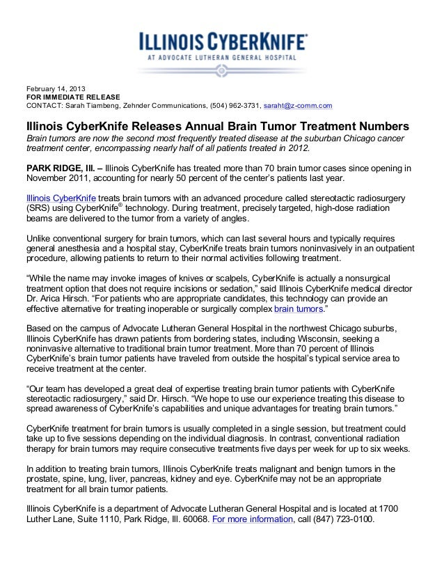 Illinois CyberKnife Releases Annual Brain Tumor Treatment Numbers
