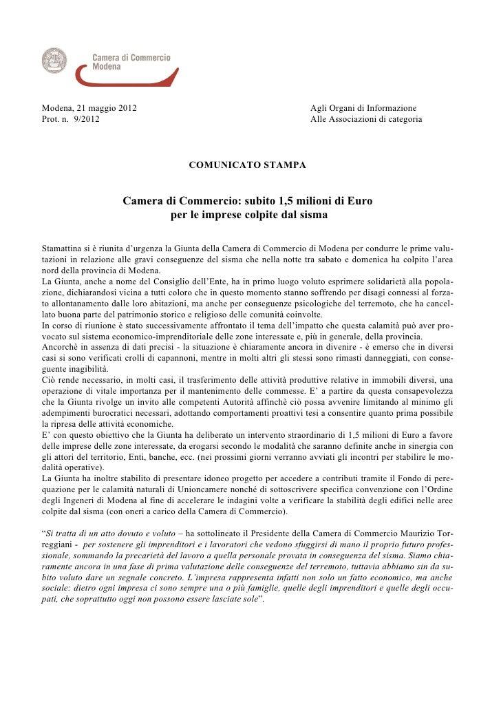 Modena, 21 maggio 2012                                                      Agli Organi di InformazioneProt. n. 9/2012    ...