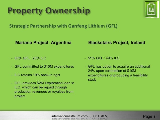 international lithium corp. (ILC: TSX.V) Property Ownership Mariana Project, Argentina -  80% GFL : 20% ILC -  GFL committ...