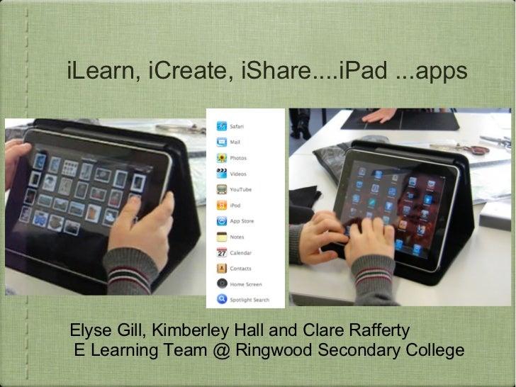 ilearn, icreate, ishare....ipad apps 2012