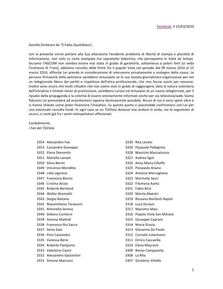 Lettera per Padellaro dai Fan di TGViola