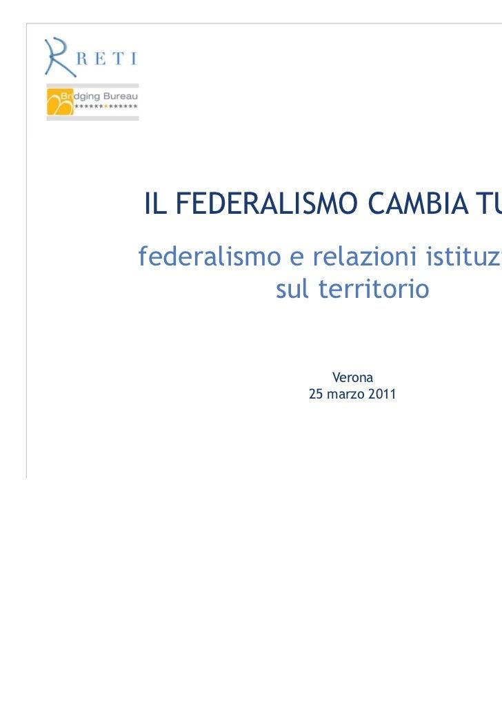 IL FEDERALISMO CAMBIA TUTTOfederalismo e relazioni istituzionali           sul territorio                 Verona          ...