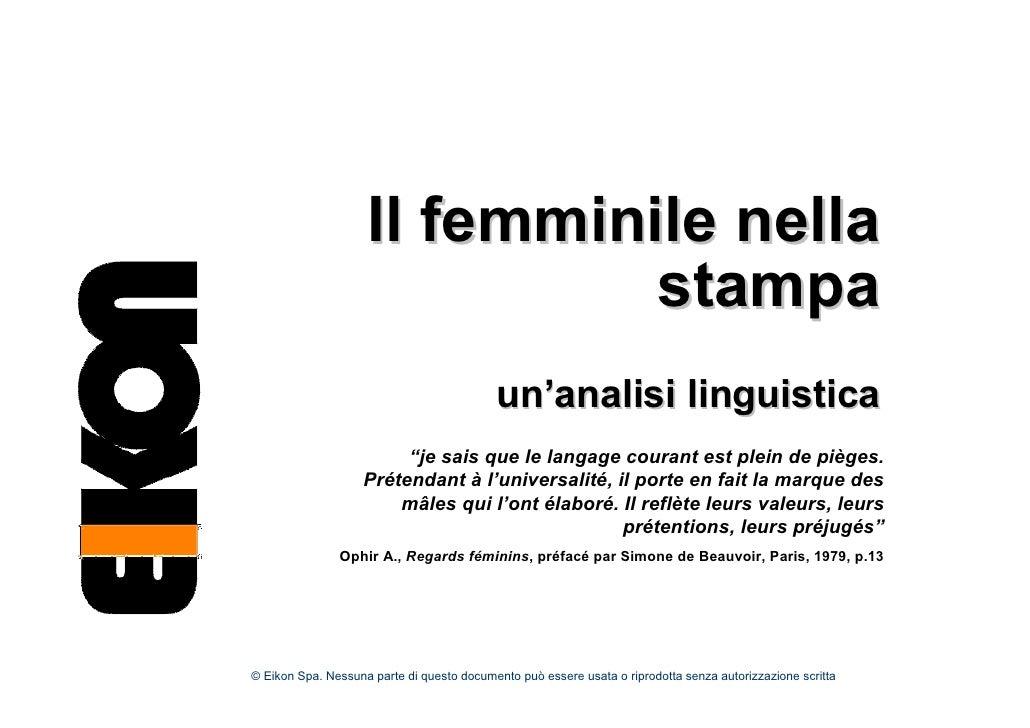 Il femminile nella                               stampa                                            un'analisi linguistica ...
