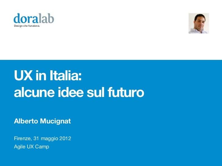 Design che funziona.UX in Italia:alcune idee sul futuroAlberto MucignatFirenze, 31 maggio 2012Agile UX Camp