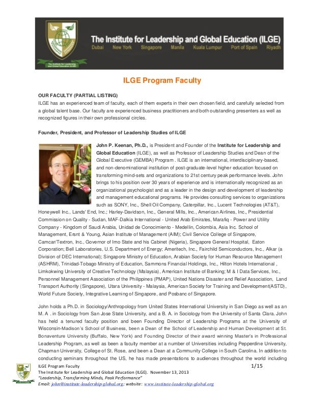 ILGE Program Faculty OUR FACULTY (PARTIAL LISTING) ILGE has an experienced team of faculty, each of them experts in their ...