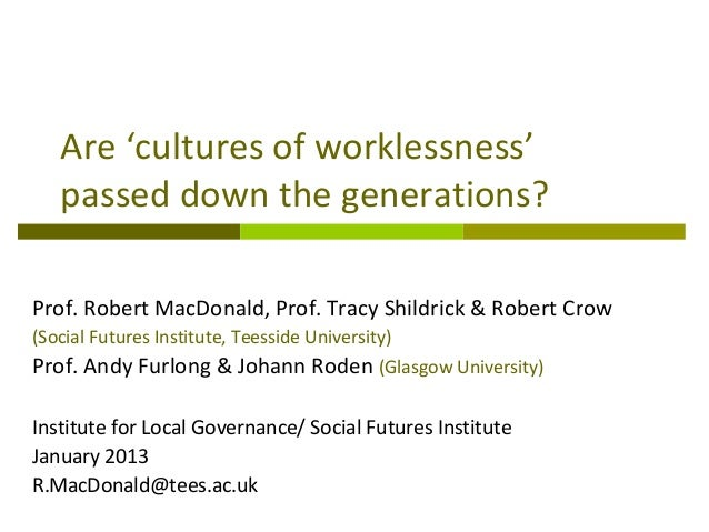 Are 'cultures of worklessness'   passed down the generations?Prof. Robert MacDonald, Prof. Tracy Shildrick & Robert Crow(S...