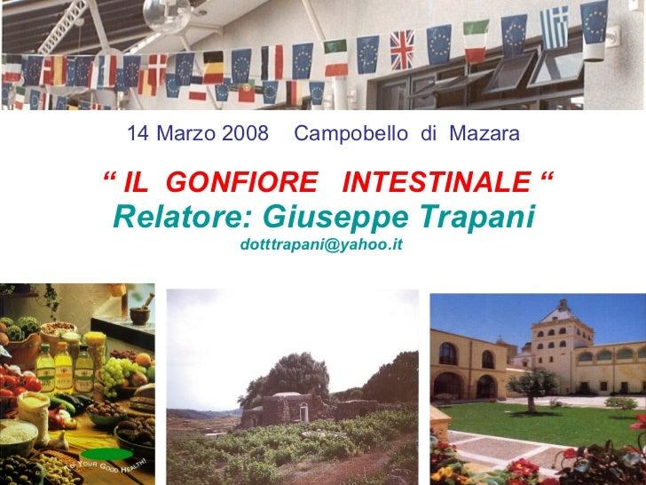 """""""  IL  GONFIORE  INTESTINALE """" Relatore: Giuseppe Trapani [email_address]   14 Marzo 2008  Campobello  di  Mazara"""