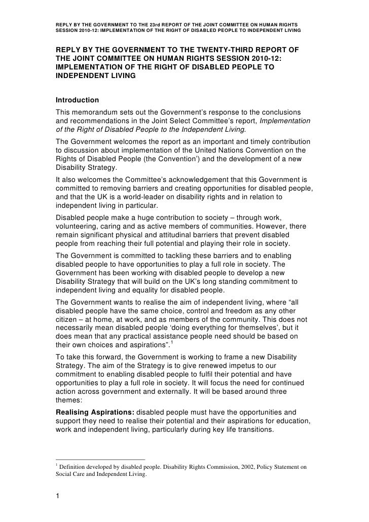 REPLY BY THE GOVERNMENT TO THE 23rd REPORT OF THE JOINT COMMITTEE ON HUMAN RIGHTSSESSION 2010-12: IMPLEMENTATION OF THE RI...