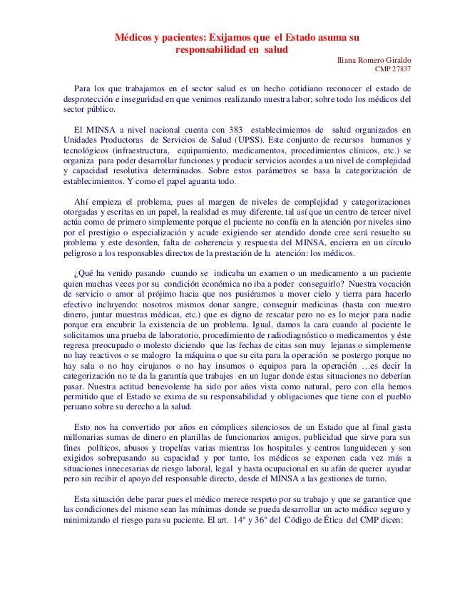 Médicos y pacientes: Exijamos que el Estado asuma su  responsabilidad en salud  Iliana Romero Giraldo  CMP 27837  Para los...