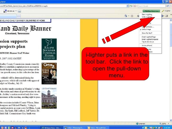 i-lighter puts a link in the tool bar.  Click the link to open the pull-down menu.