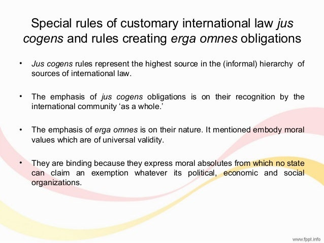 conceptualizing the relationship between jus cogens and erga omnes rules
