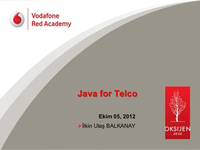 Java for Telco        Ekim 05, 2012Øİlkin Ulaş BALKANAY        C1         1