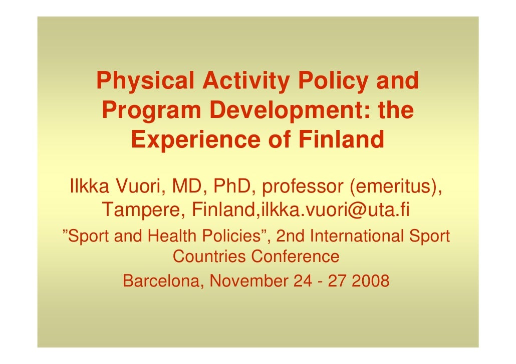 Physical activity policy and program development: the experience of Finland